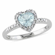 Sterling Silver 1/10 Ct Diamond And 5/8 Ct Aquamarine Heart Love Ring GH I2;I3