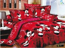 red mickey mouse Minnie king queen size Cotton Quilt / duvet Cover Bed Sets
