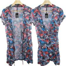 Sz 10 12 14 16 18 20 Women EVERSUN Blue Red Crinkle Tunic Blouse Top Abstract