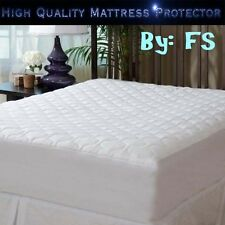 Luxury Quilted Mattress Protector Extra Deep Hotel Quality Non Noisy Polycotton