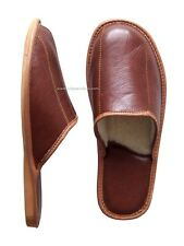 Men's Leather Slippers Shoes UK Sheep's Wool Sheepskin size 6.5 to 9 11 43 SALE!