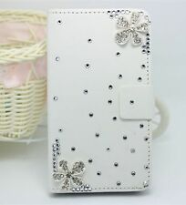Crystal Flowers Wallet Card Holder PU Leather Flip Case Cover for Nokia Phones