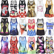 2014 New Sexy Women Graphic Print Gothic Top Fancy Dress Vest Tank Party Club