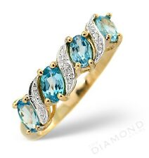 9k Y Gold Ring Four Blue Topaz Oval & Diamonds From Jewellery Quarter London