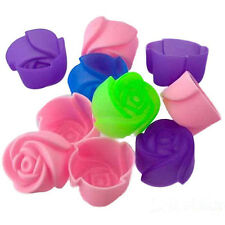 8pcs Rose Muffin Cookie Cup Cake Baking Chocolate Jelly Maker Mold Mould New