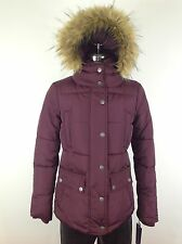 Tommy Hilfiger NWT Burgundy  Modern Jacket with  Removable Hood Faux fur trimmed