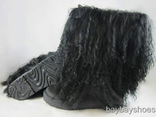 "BEARPAW BOETIS II 2 11"" BOOT BLACK CURLY LAMB FUR SHEEPSKIN US WOMENS SIZES"