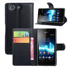 NEW PU LEATHER BOOK Wallet Stand CASE COVER FOR Various Sony Xperia Phones