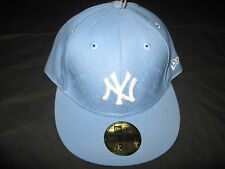 New Era 59Fifty Fitted New York NY Yankees Light Blue / White Logo Cap / Hat NWT