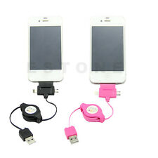 Colorful 3 IN 1 Retractable USB Sync Charger Cable For Sync Micro Mini iPhone 5S