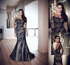2015 Hot Long Black applique Prom Gown Evening/Formal/Party/Cocktail/Prom Dress!