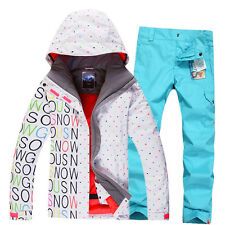 Outdoor Women Ski Set Suit Snow Jacket Pants Snowboard Waterproof XS-L