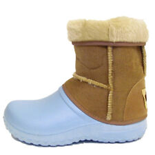 BABY AUSSIE SOLE ANKLE BOOTS TODDLER ANKLE CUT FAUX FUR BLUE TAN BOOTS SIZE 2-5