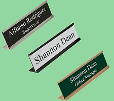 Personalized Office Desk Name Plate & Sign. 3 Plate Colors And 20 Insert Colors