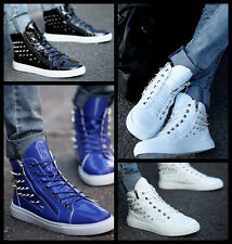 New Mens Fashion Spike Punk Studded Rivet Shoes Zipped Sneakers Ankle Boots