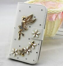 Bling angel Wallet Card Holder PU Leather Flip Pouch Case Cover For Samsung 1