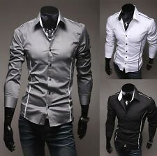 New Fashion Mens Luxury Long Sleeve Casual Slim Fit Stylish Dress Shirts 3 Color