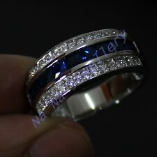 Size 8-13 Classic Jewelry Mens Sapphire 10KT White Gold Filled Band NICE Ring