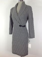 Calvin Klein NEWCable sweater dress Tin- Gray , long sleeve,shawl collar, size M