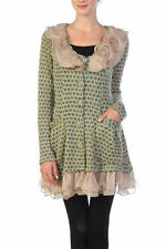RYU Anthropologie Ruffle Cardigan BEIGE GREEN Sweater Sizes Available S-M-L