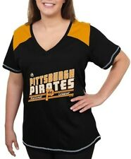 Pittsburgh Pirates Women's Majestic Superior V Neck Fashion Shirt Plus Size 4X