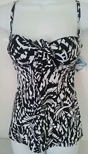 Croft & Barrow Swim Bust Enhancer UnderWire Bandeau Tankini Top Size 6 8 $38