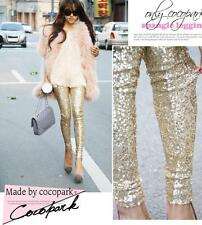 Fashion Women Girl Fashion Gold Sequins Leggings Bodycon Slim Street Long Pant