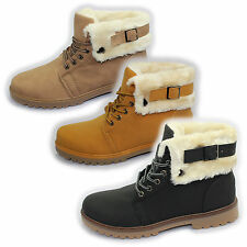 WOMENS COMBAT GRIP SOLE FUR LINED HIGH TOPS LADIES ANKLE DESERT GIRLS BOOTS NEW
