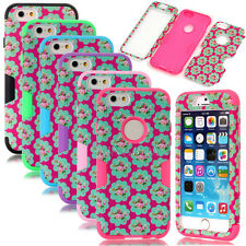 Deluxe Flower Matte Dual Layer Hybrid Shockproof Lady's Case For iPhone 6 / Plus