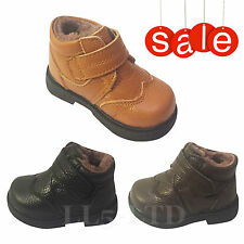 Boys Infant Kids Children Genuine Leather Winter Velcro Ankle Boots Size 3 -7
