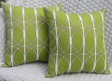 2 Pack ~ Green White Geometric Decorative Indoor Outdoor Throw Toss Pillow USA
