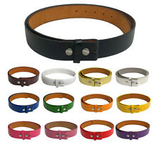 Black Brown Plain Leather Belt Mens Womens No Buckle Casual Removable Snap On