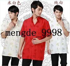 Traditional Chinese Clothing Men Short Sleeve Tang Suit Chinese Kungfu Shirt T52