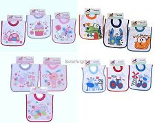 Baby Boys & Girls 3 Assorted Pull Over The Head Towelling Bibs *1 Set 3 Supplied
