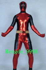 Free Ship Shiny Metallic Dead-pool Catsuit Costume Halloween Cosplay Suit S012
