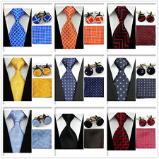 Men Blue Orange Red Black Check Necktie Ties Hanky Cufflinks Handkerchief Set be