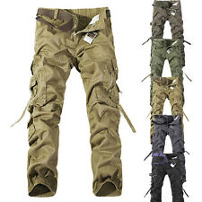New Casual Mens  Military Army Cargo Trousers Solid Color Skinny Slacks Pants