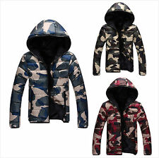 Cyber Monday Deals Womens Camouflage Pattern Full Zipper Hooded Down Jacket Coat