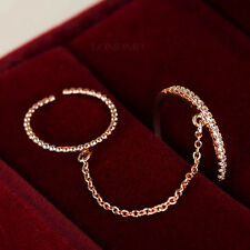 Super Slim 2 Open Rings Chain Linked Ring Set,crystals Round Ring&Beads Ring 494