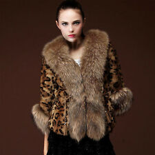 Luxury Retro Women Faux Fur Coller Leopard Coat Winter Jacket Parka Outwear new