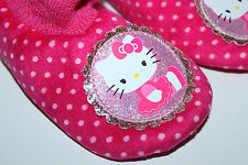 Hello Kitty NWT Girl's 9 10 11 12 Pink Dot Sock Top Slippers w/ Glitter Patch