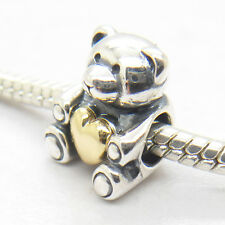 Lovely Teddy Bear My Heart Sterling silver W 14k Gold Charms Mother's Day bead