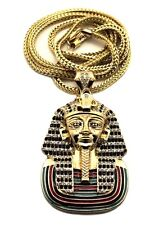 "Gold Egyptian King Tut Pharaoh Pendant Charm 36"" Chain Necklace Fashion Jewelry"