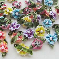 60pcs Ribbon Flowers With Bead Sewing Appliques Craft Wedding Decoration