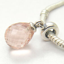 New Pink Murano Faceted Glass Drop Dangle 925 Sterling Silver Charm Bead