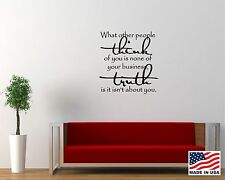 Vinyl Wall Decal Art Saying Quote Decor What Other People Think None Business