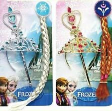 3PCS SET Disney Frozen Princess Queen Elsa Anna Tiara Wand Hair Braid XMAS Gift