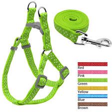 New Adjustable Polka Dot Nylon Dog Puppy Strap Harness & Leash for Small Breeds
