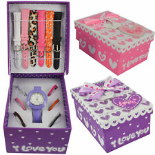 Ladies Girls Watch Set with Multicolour Interchangeable 6 Straps & 11 Bezels