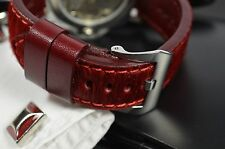 MA WATCH STRAP 22 MM REAL PONY CALF LEATHER F. PANERAI HANDMADE SPAIN PONY I-RED